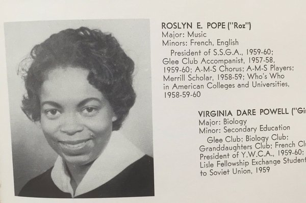 Roslyn Pope's listing in what appears to list of students, possibly a yearbook