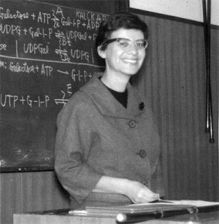 Esther Lederberg gives a lecture in Japan in 1962.