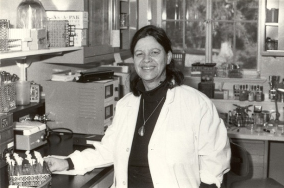 Esther Lederberg in the lab at Stanford University